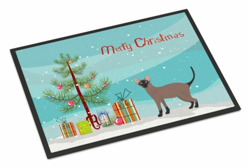 Oriental Bicolor Cat Merry Christmas Indoor or Outdoor Mat 24x36 Perspective: front