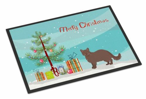 York Chocolate #1 Cat Merry Christmas Indoor or Outdoor Mat 24x36 Perspective: front