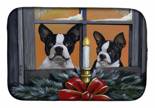 Boston Terrier Looking for Santa Christmas Dish Drying Mat Perspective: front