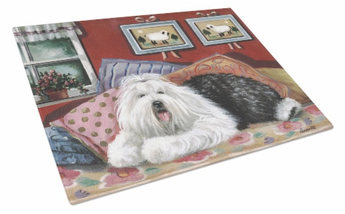 Old English Sheepdog Sweet Dreams Glass Cutting Board Large Perspective: front