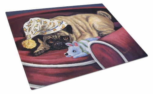 Pug Goodnight Sweetheart Glass Cutting Board Large Perspective: front