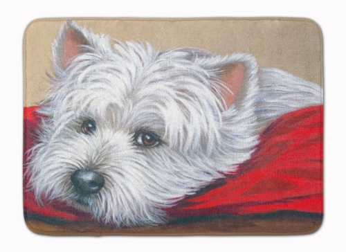 Westie Red Pillow Machine Washable Memory Foam Mat Perspective: front