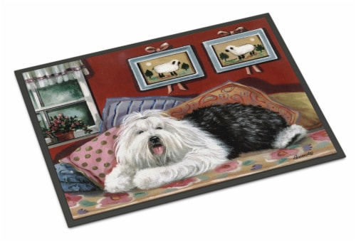 Old English Sheepdog Sweet Dreams Indoor or Outdoor Mat 18x27 Perspective: front