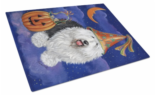 Old English Sheepdog Halloween Glass Cutting Board Large Perspective: front