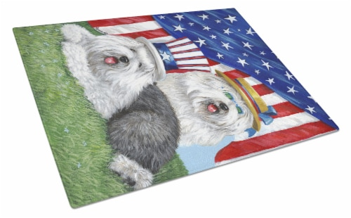 Old English Sheepdog USA Glass Cutting Board Large Perspective: front