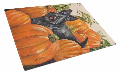 Scottish Terrier Scottie Pumpkins Glass Cutting Board Large Perspective: front