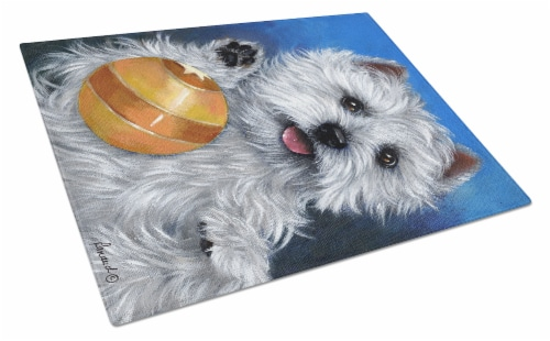 Carolines Treasures  PPP3223LCB Westie Play Ball Glass Cutting Board Large Perspective: front