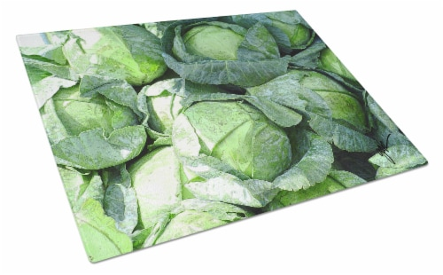 Carolines Treasures  GAK1016LCB Cabbage by Gary Kwiatek Glass Cutting Board Larg Perspective: front