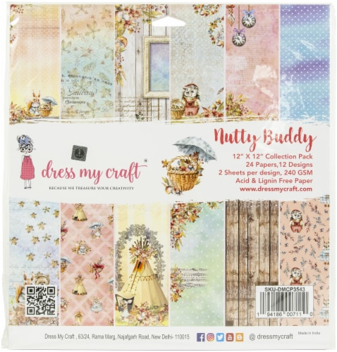 Dress My Craft Single-Sided Paper Pad 12 X12  24/Pkg-Nutty Buddy Perspective: front