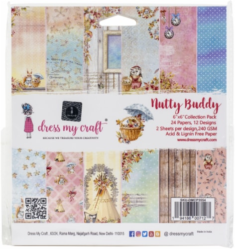 Dress My Craft Single-Sided Paper Pad 6 X6  24/Pkg-Nutty Buddy Perspective: front