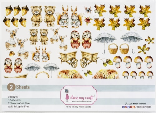 Dress My Craft Image Sheet 240gsm A4 2/Pkg-Nutty Buddy Perspective: front