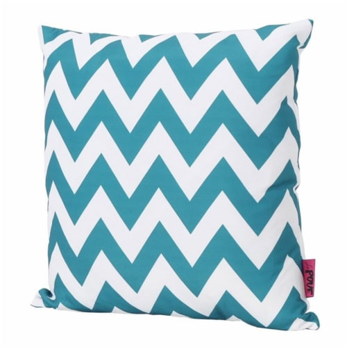 Noble House Marisol Chevron Square Throw Pillow in Dark Teal Perspective: front