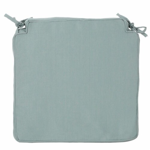 Noble House Old Orchard Outdoor Fabric Skirted Chair Cushion in Teal Perspective: front