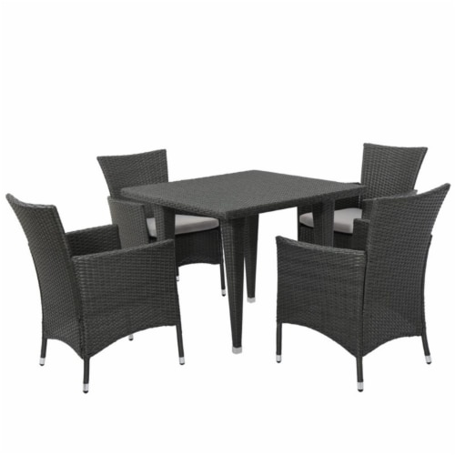 Noble House Malta 5 Piece Outdoor Dining Set in Gray Perspective: front