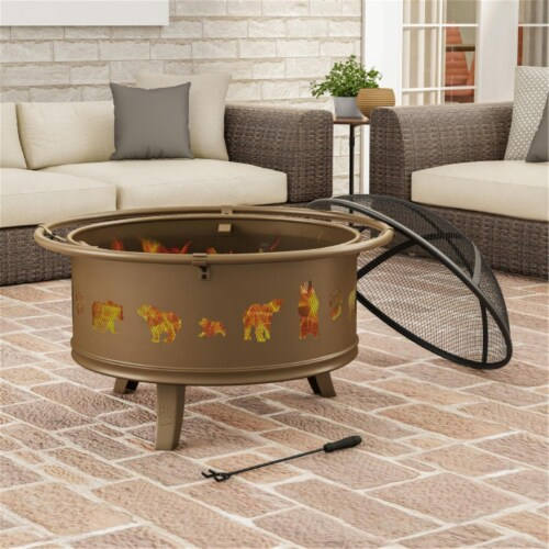 Pure Garden 50-LG1202 32 in. Outdoor Deep Fire Pit Steel Bowl with Bear Cutouts, Antique Gold Perspective: front