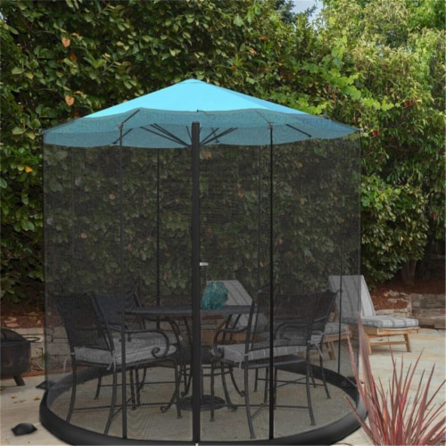 Pure Garden 50-LG1205 10-11 ft. Bug Screen for Table Umbrella Mosquito Net, Black Perspective: front