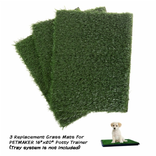 Replacement Grass Mats- Set of 3 Turf Pads for Puppy Potty Trainer Fake Grass is 18.5 x 14 Perspective: front
