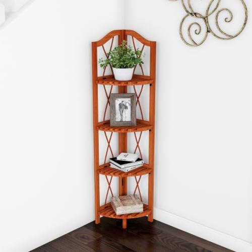 Folding Corner Shelf- 4 Tier Wooden Bookcase- For Display Shelving for Living Room, Bathroom, Perspective: front