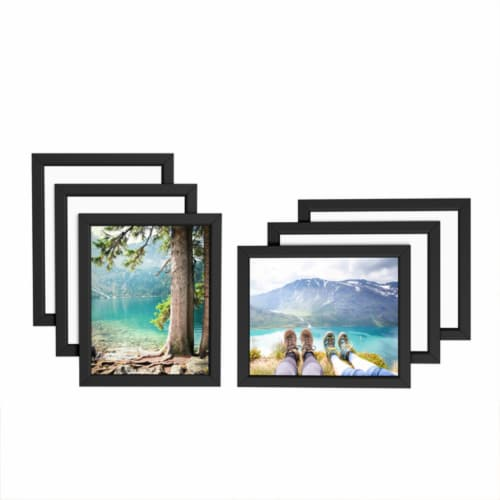 6 Pack of  Black Photo Frames 8 x 10 Wall Hang or Table Top Display Images Home Decor Perspective: front