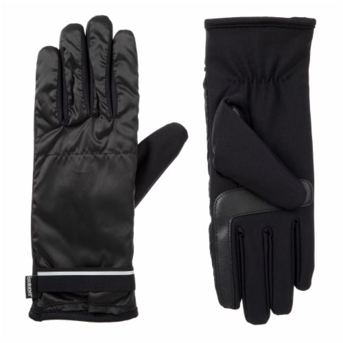 Isotoner® Women's Large-Extra Large Iridescent Gloves - Black Perspective: front