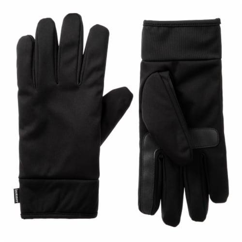 Isotoner® Men's Large Softshell Gloves - Black Perspective: front