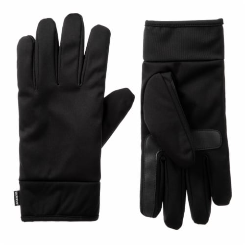 Isotoner­® Men's Extra Large Softshell Gloves - Black Perspective: front