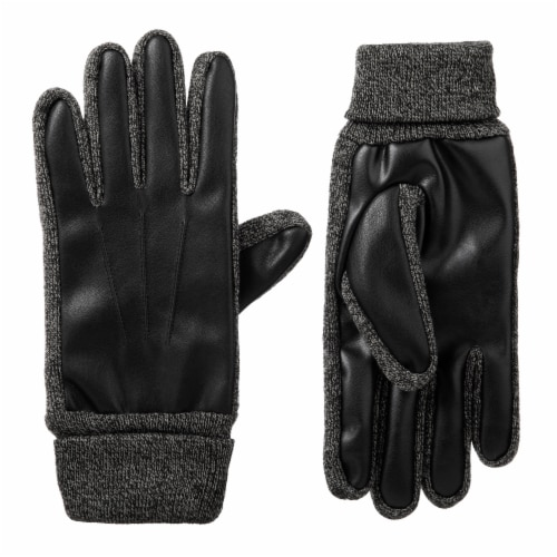 Isotoner­® Men's Extra Large Stretch Faux Nappa Gloves - Black Perspective: front