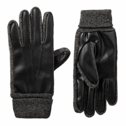 Isotoner® Men's Extra Large Stretch Faux Nappa Gloves - Black Perspective: front