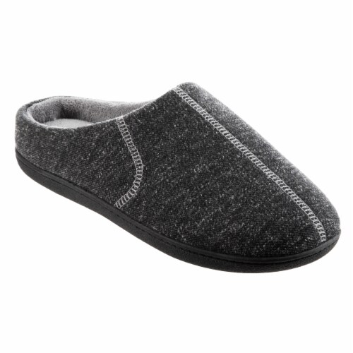 Isotoner­® Heather Knit Preston Hoodback Men's Slippers Perspective: front