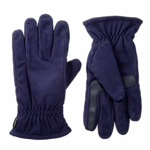 Isotoner® Men's Large Fleece Gloves - Navy Perspective: front