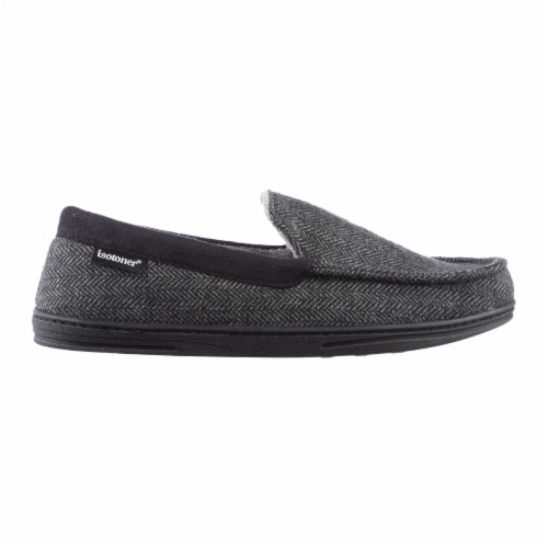 Isotoner® Men's Herringbone Logan Moccasin - Black Perspective: front
