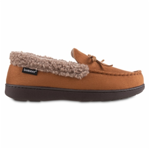 Isotoner® Men's Microsuede and Berber Slippers - Brown Perspective: front