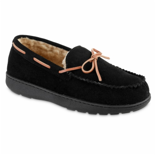 Isotoner­® Genuine Suede Moccasin Men's Slippers - Black Perspective: front