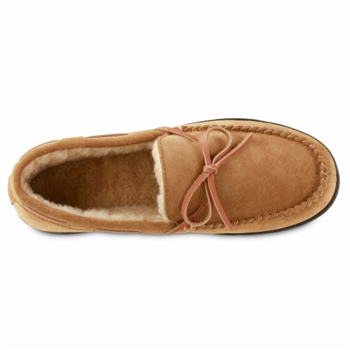 Isotoner® Genuine Suede Moccasin Men's Slippers - Brown Perspective: front