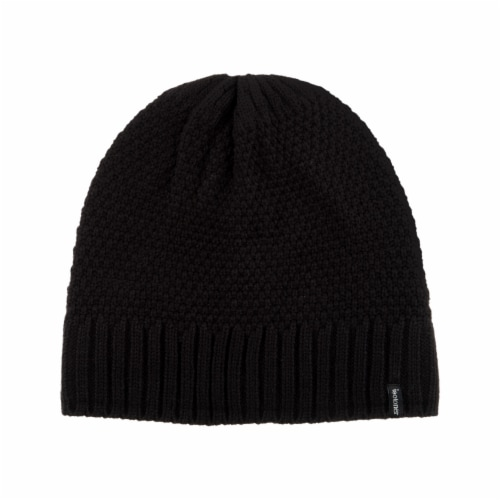Isotoner® Women's Lined Water Repellent Textured Knit Beanie - Black Perspective: front