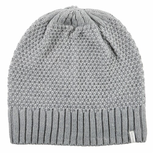 Isotoner® Women's Lined Water Repellent Textured Knit Beanie - Grey Perspective: front