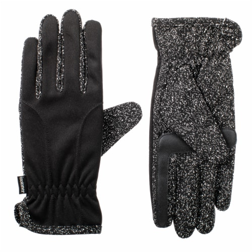 Isotoner® Women's Unlined Water Repellent Speckled Glove - Black Perspective: front