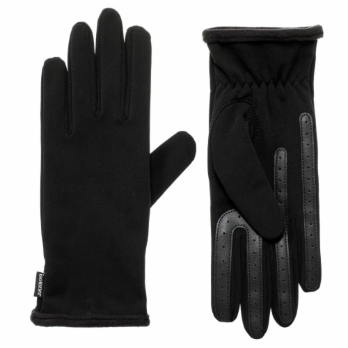 Isotoner® Women's Water Repellent Spandex Gloves - Black Perspective: front