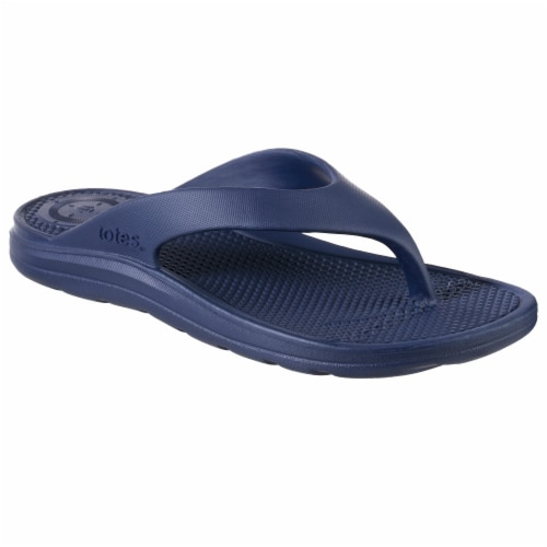 Totes Womens Sol Bounce Ara Thong Sandals - Navy Blue Perspective: front