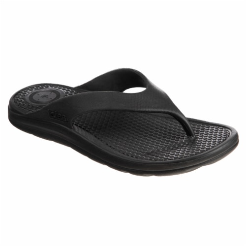 Totes Mens Sol Bounce Ara Thong Sandals - Black Perspective: front