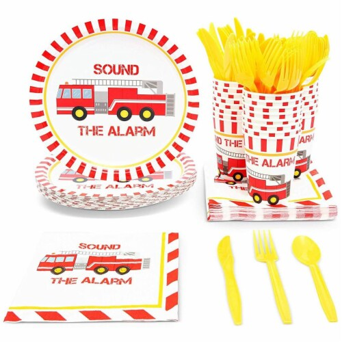 Fire Truck Birthday Party Dinnerware Set, Sound The Alarm (144 Pieces, Serves 24) Perspective: front
