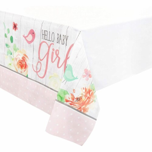 Hello Baby Girl Shower Table Covers (54 x 108 in., 3 Pack) Perspective: front