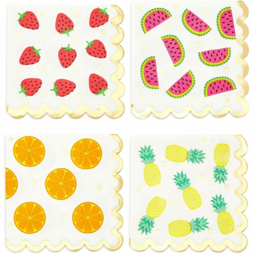 Fruit Cocktail Napkins, Summer Party Decorations (4 Designs, 5 x 5 In, 100 Pack) Perspective: front