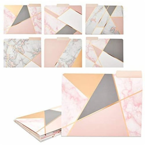 Geometric Marble File Folders, Rose Gold Office Supplies (Letter Size, 12 Pack) Perspective: front