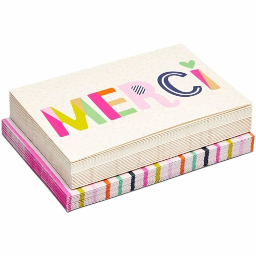 Blank Merci Thank You Cards with Striped Envelopes (6 x 4 Inches, 24 Pack) Perspective: front