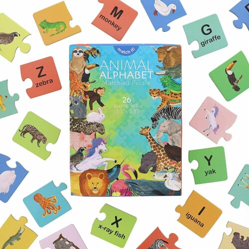 26 Pack Animal Alphabet Matching Word Game Waterproof Educational Toy for Kids Perspective: front