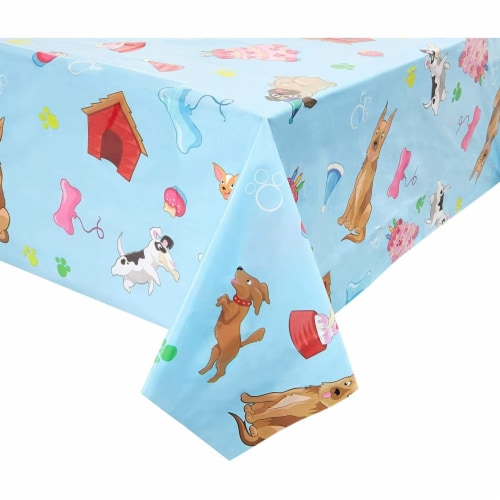 Blue Panda Puppy Dog Themed Party Table Covers (54 x 108 in, Rectangle, 3 Pack) Perspective: front