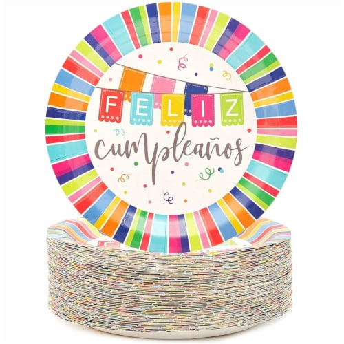 Feliz Cumpleanos Paper Plates for Birthday Party (9 In, 80 Pack) Perspective: front
