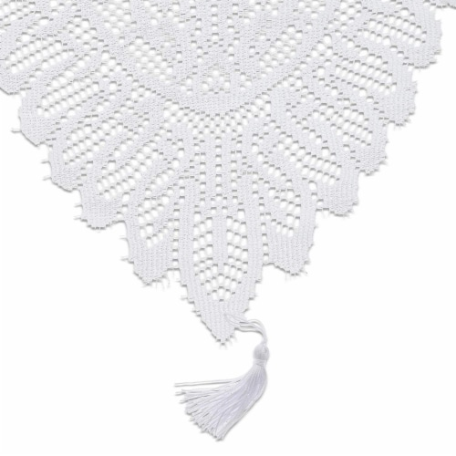 Juvale Lace Table Cloth Runner for Dinners and Parties (13 x 72 in, White) Perspective: front