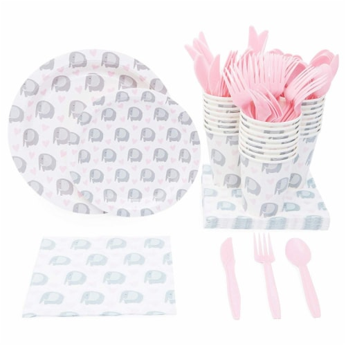 Elephant Themed Party Supplies Pack for Baby Showers (Serves 24) Perspective: front